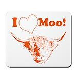 I Love Moo Highland Cow Mousepad