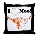 I Love Moo Highland Cow Throw Pillow