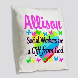 SOCIAL WORKER Burlap Throw Pillow