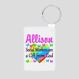 SOCIAL WORKER Aluminum Photo Keychain