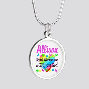 SOCIAL WORKER Silver Round Necklace