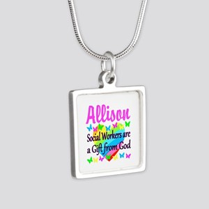SOCIAL WORKER Silver Square Necklace