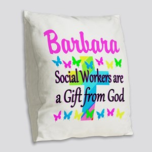 SOCIAL WORKER Burlap Throw Pillow