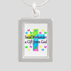 SOCIAL WORKER Silver Portrait Necklace