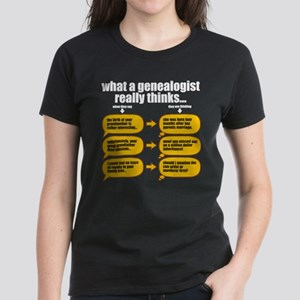 Genealogist Thinks Women's Dark T-Shirt
