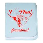 I Love Moo! Highland Cow baby blanket