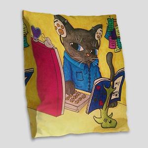 Maine Coon Writer Cat 2 Burlap Throw Pillow