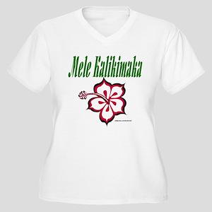 Hawaiian Merry Christmas Women's Plus Size V-Neck