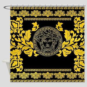 Gold Medusa Shower Curtain