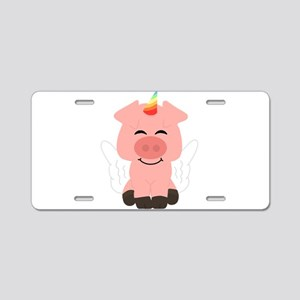 Pink Flying Unicorn Pig Aluminum License Plate