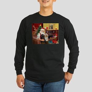 Santa's 2 Cockers Long Sleeve Dark T-Shirt