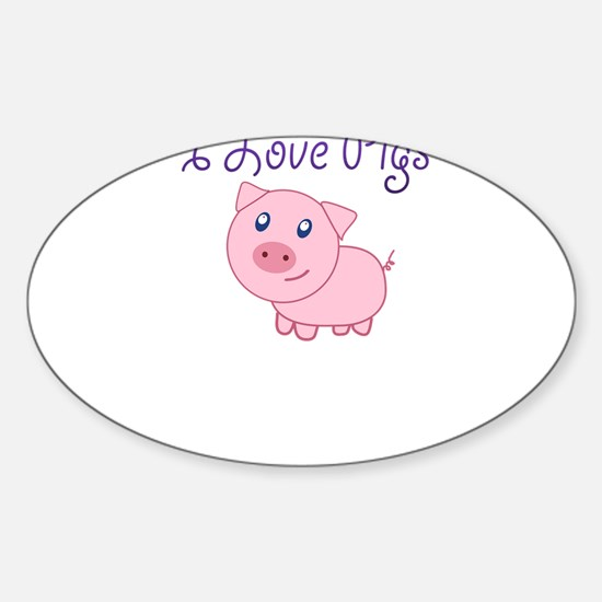 I Love Pigs Decal