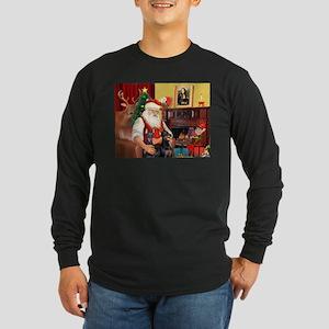 Santa's 2 Dobermans Long Sleeve Dark T-Shirt
