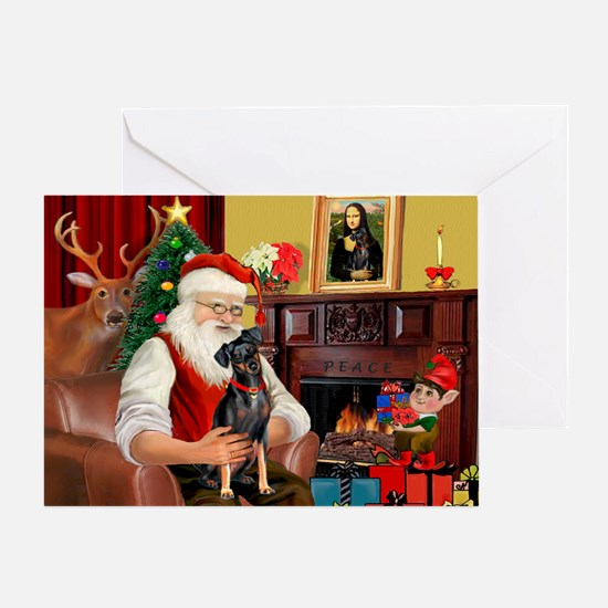 Santa'sMiniature Pinscher Greeting Card