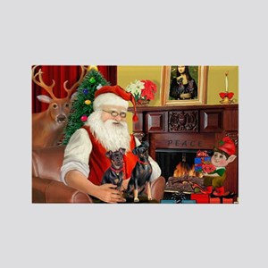 Santa's 2 Mun Pinschers Rectangle Magnet