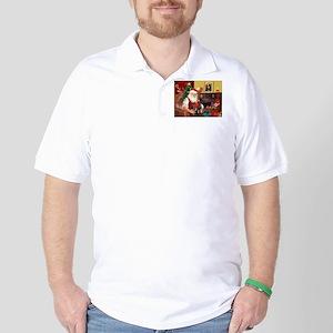 Santa's 2 Mun Pinschers Golf Shirt