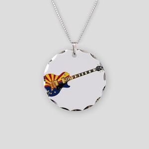 Arizona Flag Guitar Necklace Circle Charm