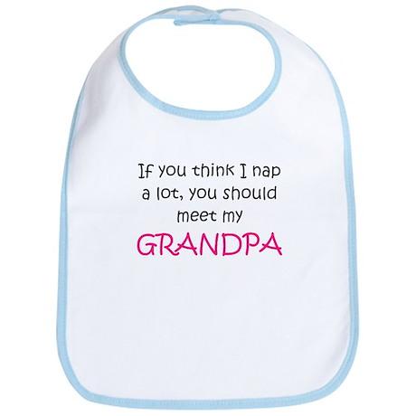Grandpa naps (pink) Bib