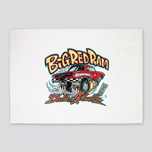 Big Red Ram Cartoon 5'x7'Area Rug