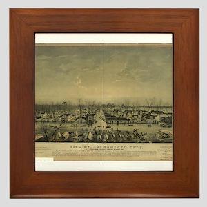 Sacramento Antique Map Framed Tile