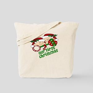 Twins First Christmas Peeking Tote Bag