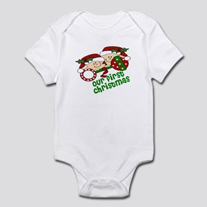 Twins First Christmas Peeking Infant Bodysuit