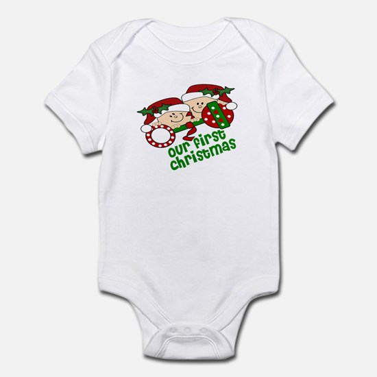 Twins First Christmas Peeking Infant Bodysuit