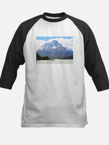 Boat and mountains, Patagonia, Chi Baseball Jersey
