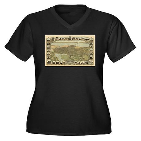Oakland Women's Plus Size V-Neck Dark T-Shirt