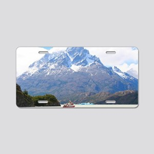 Boat and mountains, Patagon Aluminum License Plate