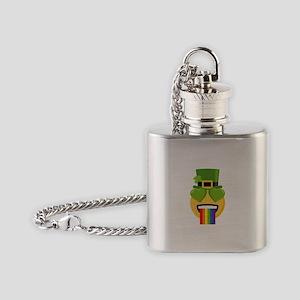 Green Heart Rainbow Vomit Flask Necklace