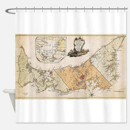 Vintage Map of Prince Edward Island Shower Curtain