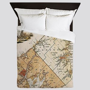 Vintage Map of Prince Edward Island (1 Queen Duvet