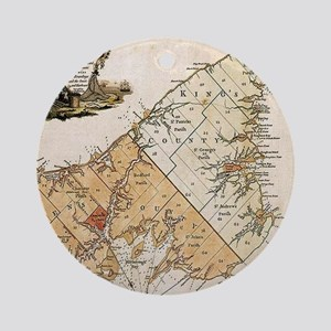 Vintage Map of Prince Edward Island Round Ornament
