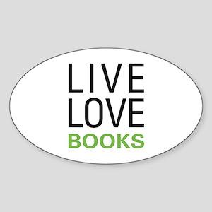 Live Love Books Sticker (Oval)