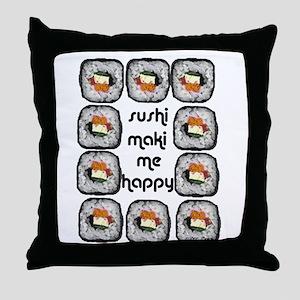 Sushi Maki Me Happy Throw Pillow