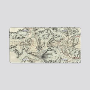 Vintage Map of Mount Everes Aluminum License Plate