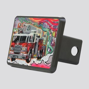 Graffiti Fire Truck Rectangular Hitch Cover