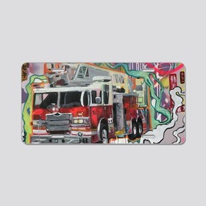 Graffiti Fire Truck Aluminum License Plate