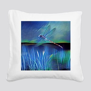 Dragonfly Pond Square Canvas Pillow