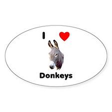 I love donkeys Sticker (Oval)
