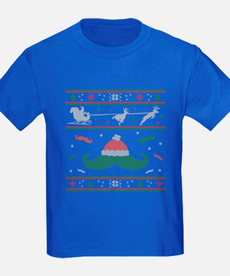 Ugly Christmas Sweater Mustache T-Shirt
