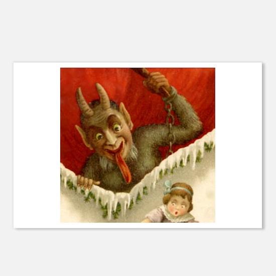 Christmas Krampus DEVIL &Girl 8pk Postcards