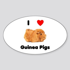 I love guinea pigs Oval Sticker