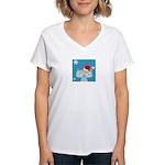 CHRISTMAS KITTY Women's V-Neck T-Shirt