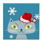 CHRISTMAS KITTY Tile Coaster