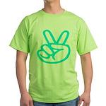 103b. lite green peace/ victory sign Green T-Shirt