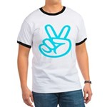 103b. lite green peace/ victory sign Ringer T