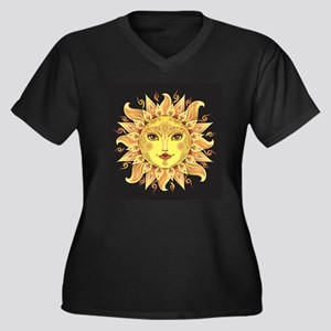 Stylish Sun Women's Plus Size V-Neck Dark T-Shirt