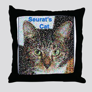 Seurat's Cat Throw Pillow